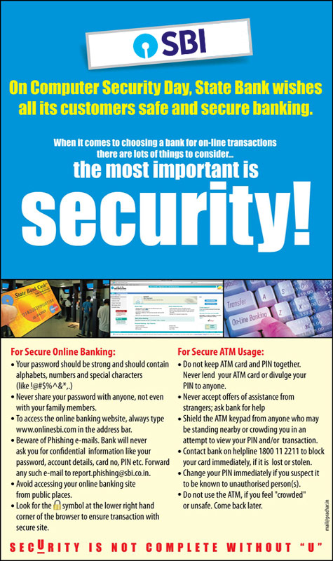 On computer security day, State bank wishes all its customers safe and secure banking